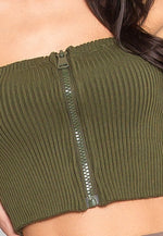 Pause Zipper Front Crop Top in Olive
