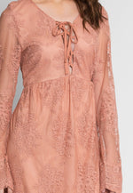 Woodburn Lace Empire Dress in Blush