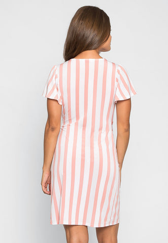 For Love Striped Wrap Dress