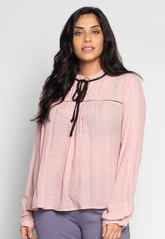 Plus Size Like a Bird Ruffle Neck Peasant Blouse in Light Pink