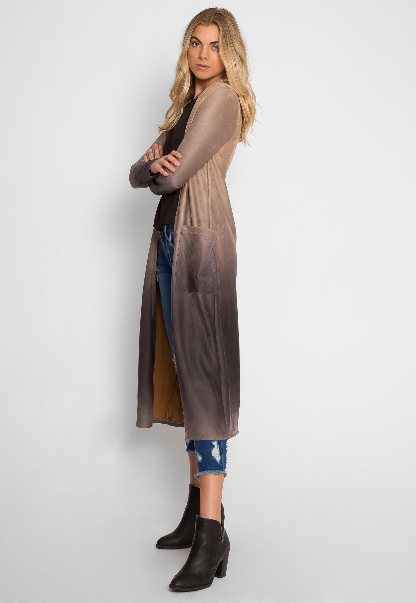 Sahara Ombre Faux Suede Duster Coat - Jackets & Coats - Wetseal