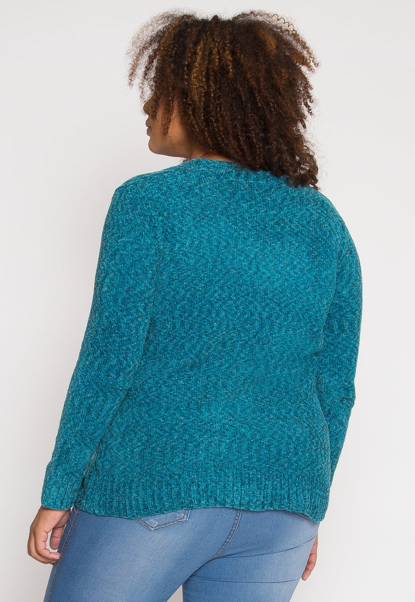 Plus Size Velvet V-Neck Sweater in Teal - Plus Outerwear - Wetseal