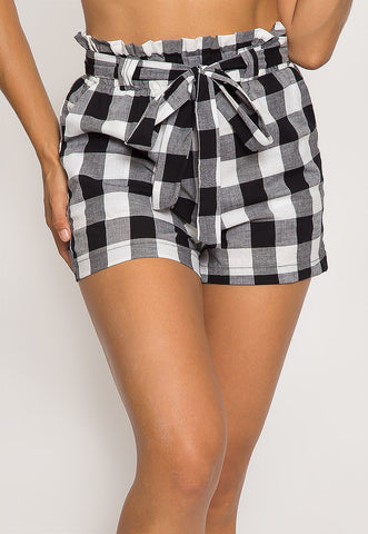 Gingham Plaid Paperbag Shorts in Black