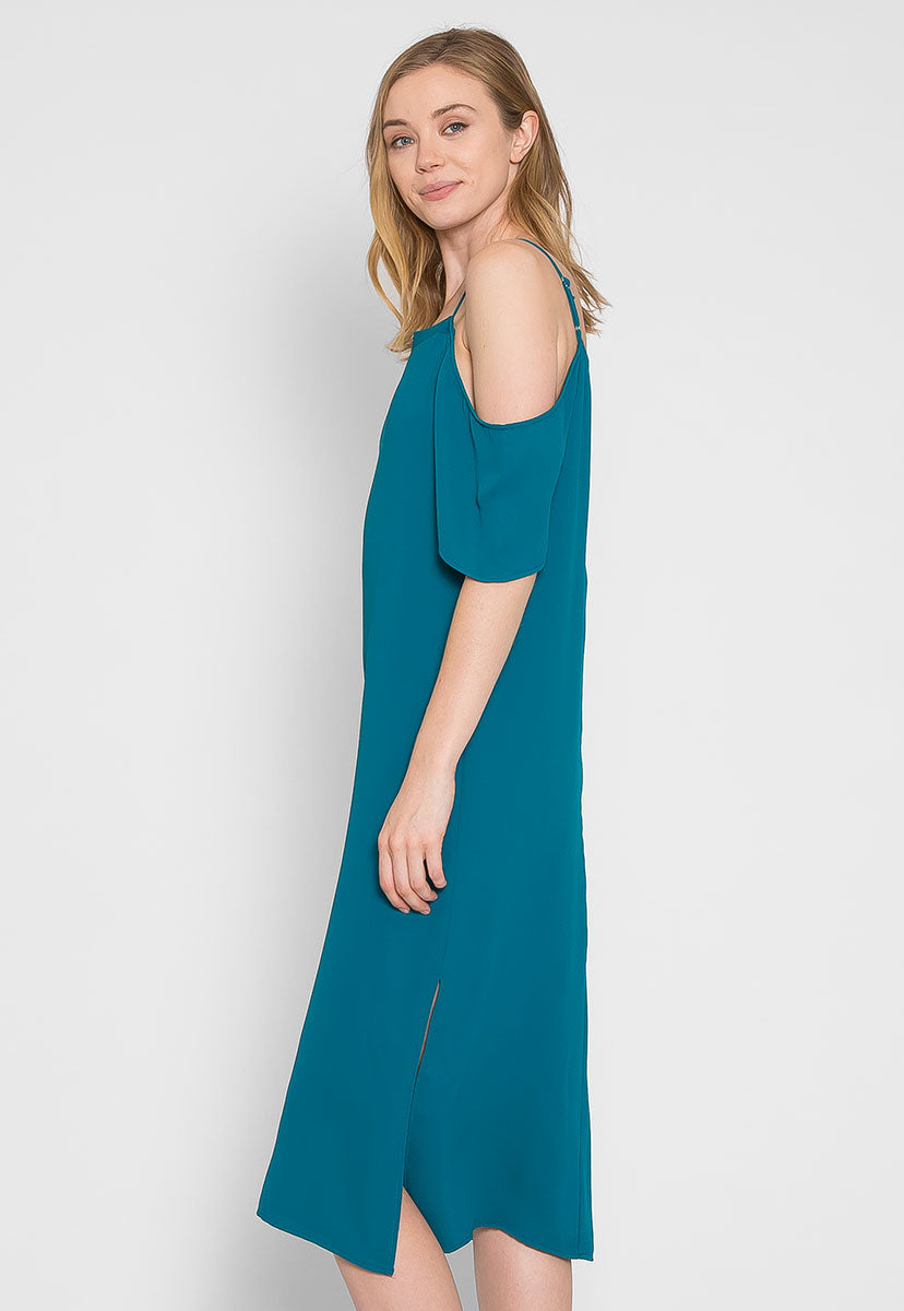 Reveal Cold Shoulder Maxi Dress in Teal - Dresses - Wetseal