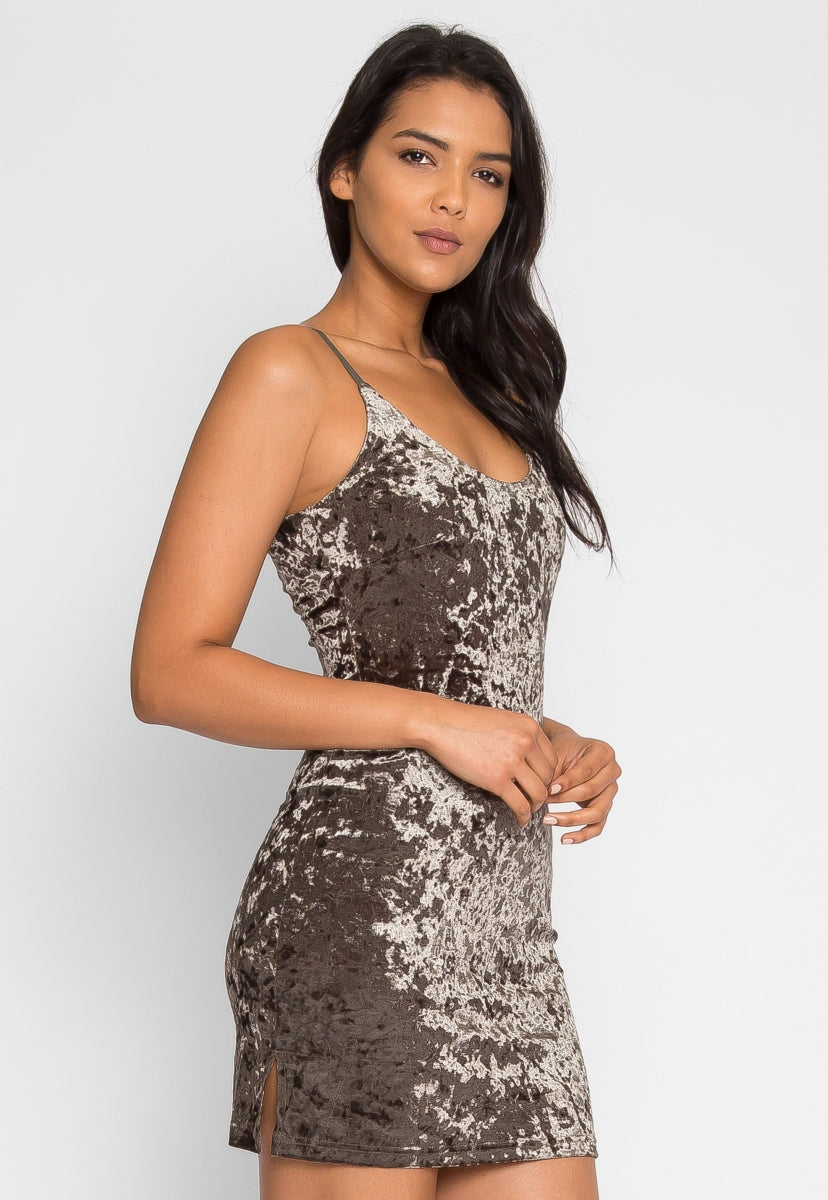 Sweet Kiss Velvet Mini Dress in Olive - Dresses - Wetseal