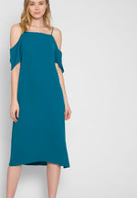Reveal Cold Shoulder Maxi Dress in Teal
