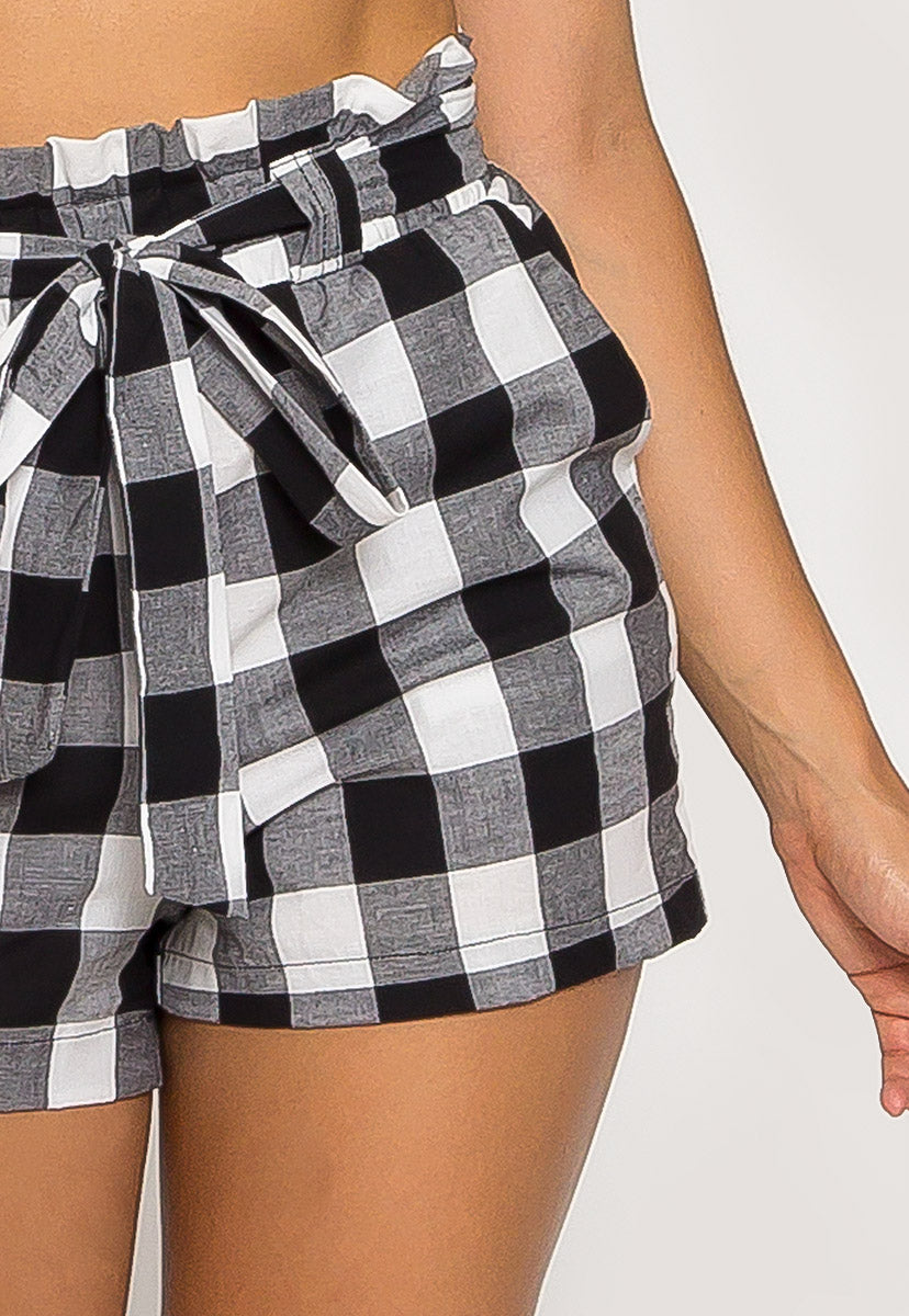 Gingham Plaid Paperbag Shorts in Black - Short - Wetseal