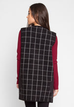 Gridwall Heavy Knit Plaid Longline Vest