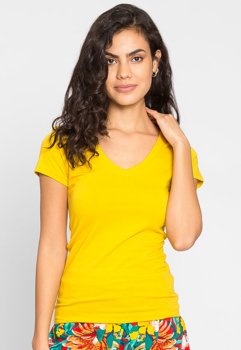 Olivia Fitted V-Neck Tee in Yellow - T-shirts - Wetseal