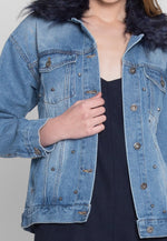 Alps Studded Faux Fur Collar Denim Jacket