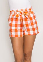 Gingham Plaid Paperbag Shorts in Orange