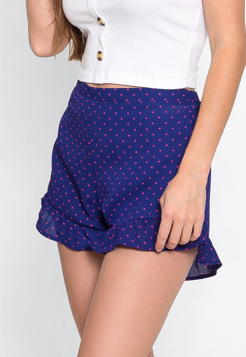 Seeds Polka Dot Ruffle Shorts in Navy - Short - Wetseal