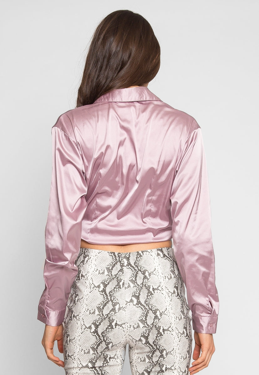 Raspberry Satin Crop Top in Pink - Crop Tops - Wetseal