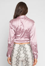 Raspberry Satin Crop Top in Pink