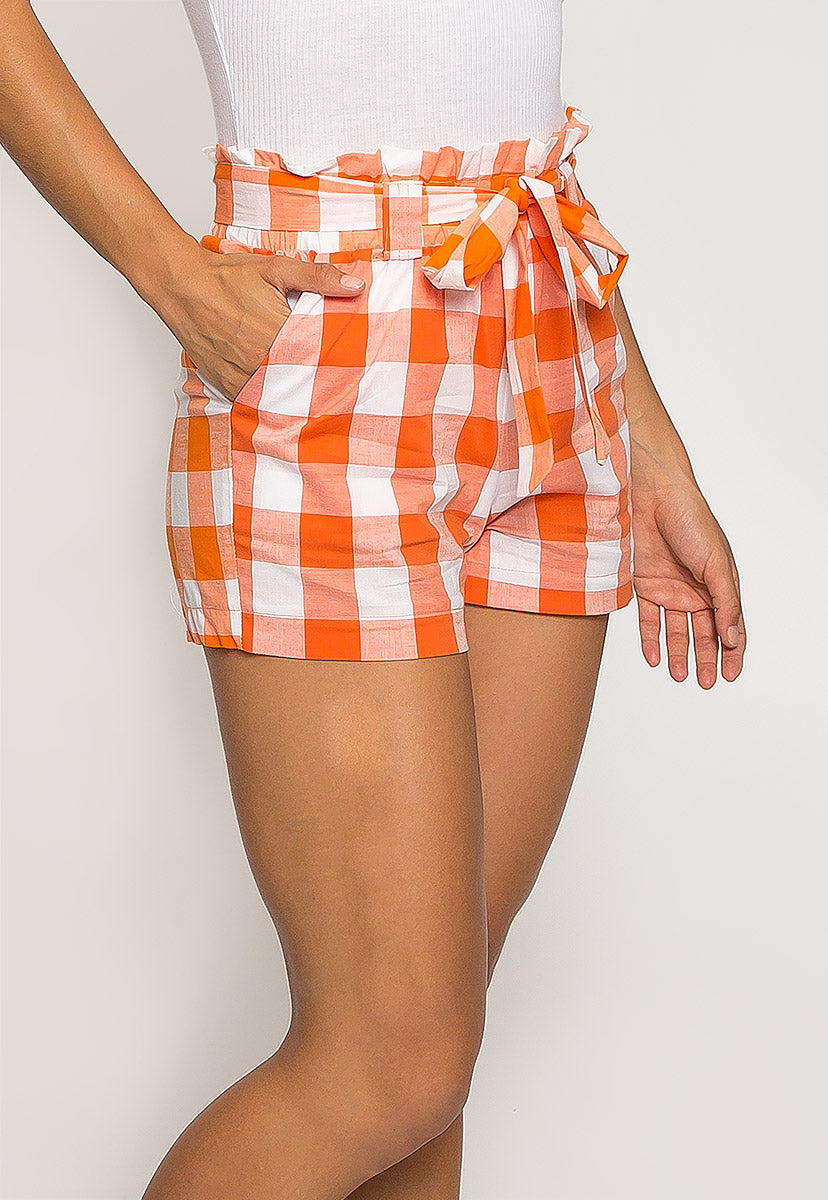 Gingham Plaid Paperbag Shorts in Orange - Short - Wetseal