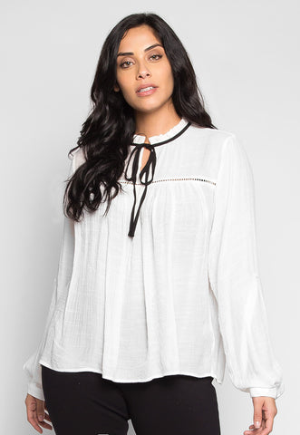 Plus Size Like a Bird Ruffle Neck Peasant Blouse in White
