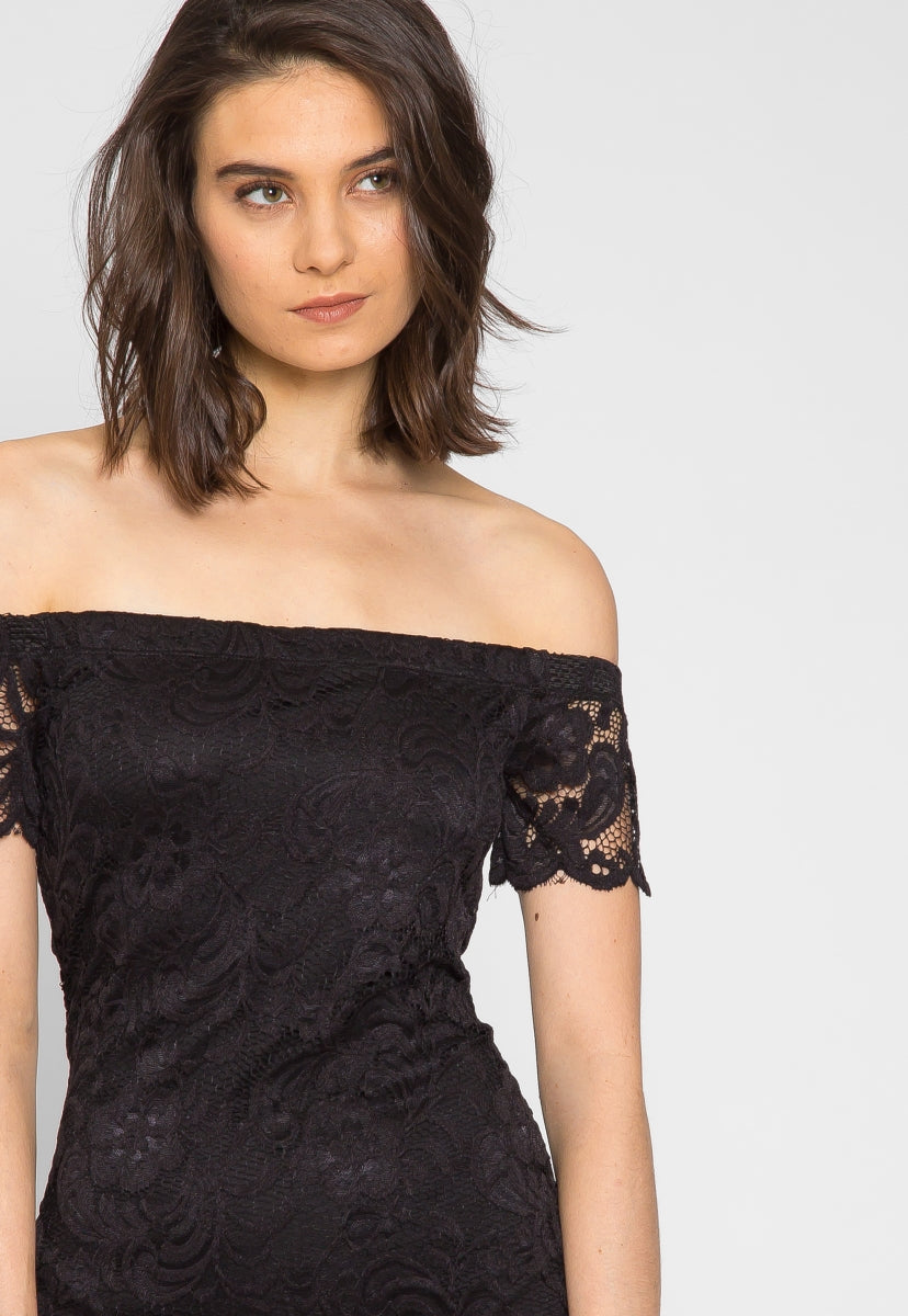 Date Night Off Shoulder Lace Dress - Dresses - Wetseal