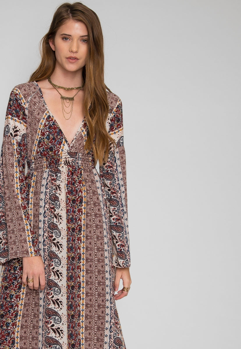 BOHO MIDI DRESS IN BEIGE - Dresses - Wetseal