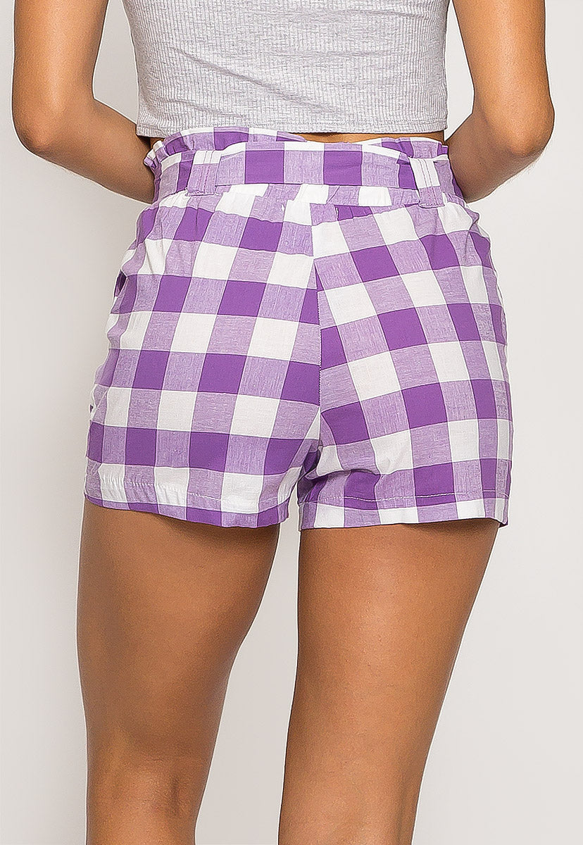 Gingham Plaid Paperbag Shorts in Purple - Short - Wetseal