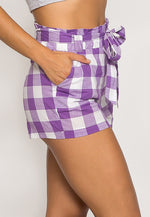 Gingham Plaid Paperbag Shorts in Purple