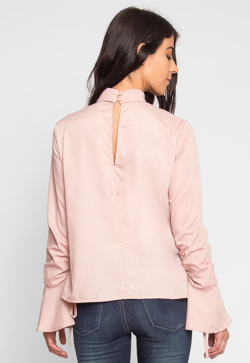 Bellfield Mock Neck Top in Pink - Shirts & Blouses - Wetseal