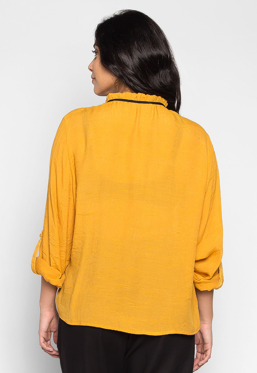 Plus Size Like a Bird Ruffle Neck Peasant Blouse in Mustard - Plus Tops - Wetseal