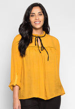 Plus Size Like a Bird Ruffle Neck Peasant Blouse in Mustard