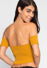 Pause Zipper Front Crop Top in Mustard