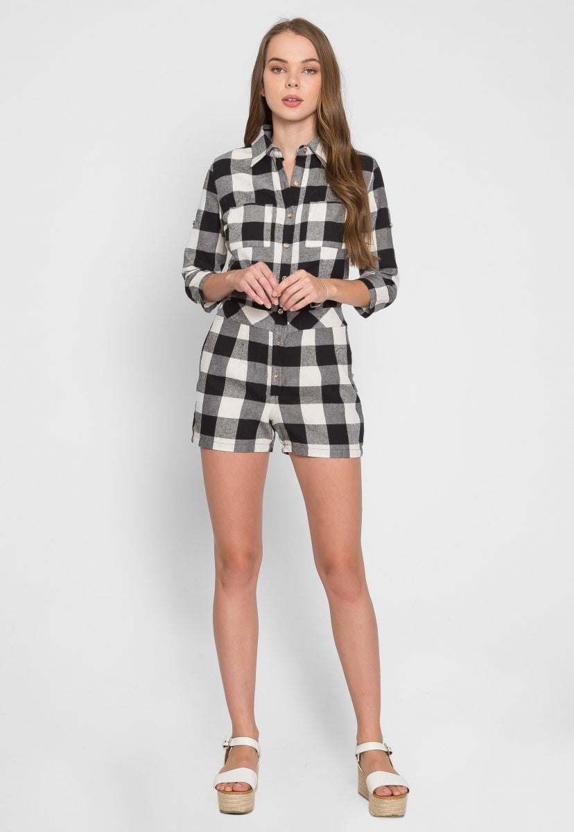 Only One Buffalo Plaid Romper - Rompers & Jumpsuits - Wetseal