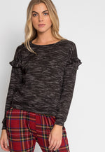 Black Sand Slub Top in Black