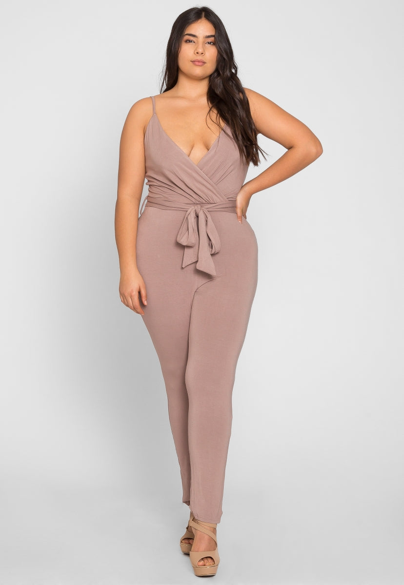 Plus Size Latte Surplice Knit Jumpsuit - Plus Rompers & Jumpsuits - Wetseal