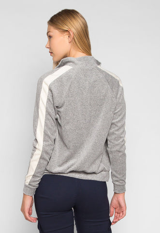 Full Moon Side Stripe Zip Velour Sweatshirt