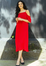 Reveal Cold Shoulder Maxi Dress in Red