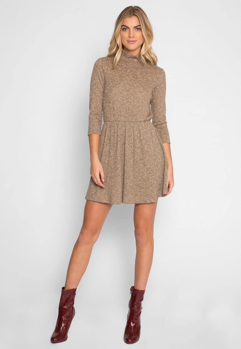 Pop Quiz Mock Neck Fit and Flare Dress - Dresses - Wetseal