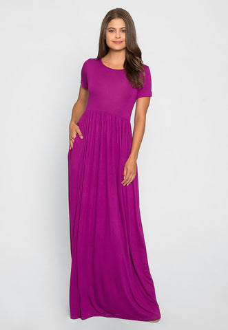One Love Shirred Maxi Dress in Purple