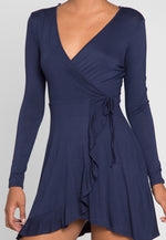 Party Time Wrap Dress in Navy