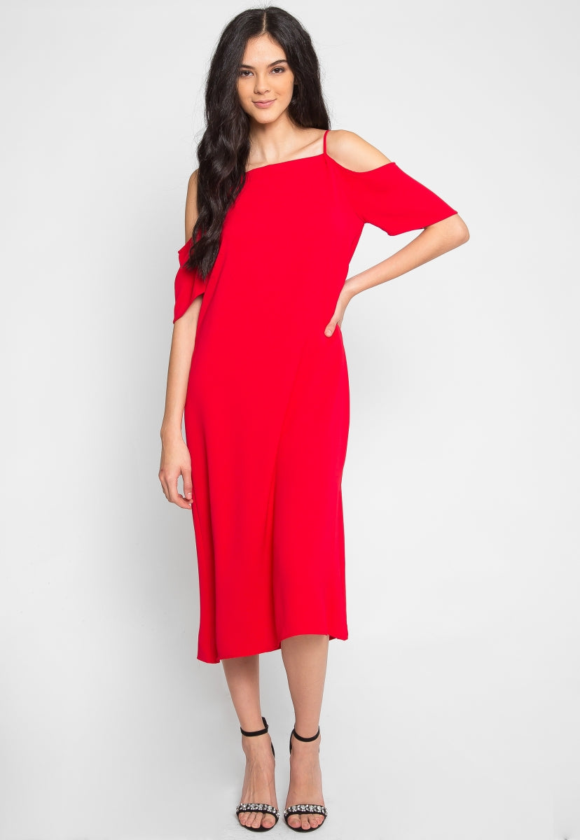 Reveal Cold Shoulder Maxi Dress in Red - Dresses - Wetseal