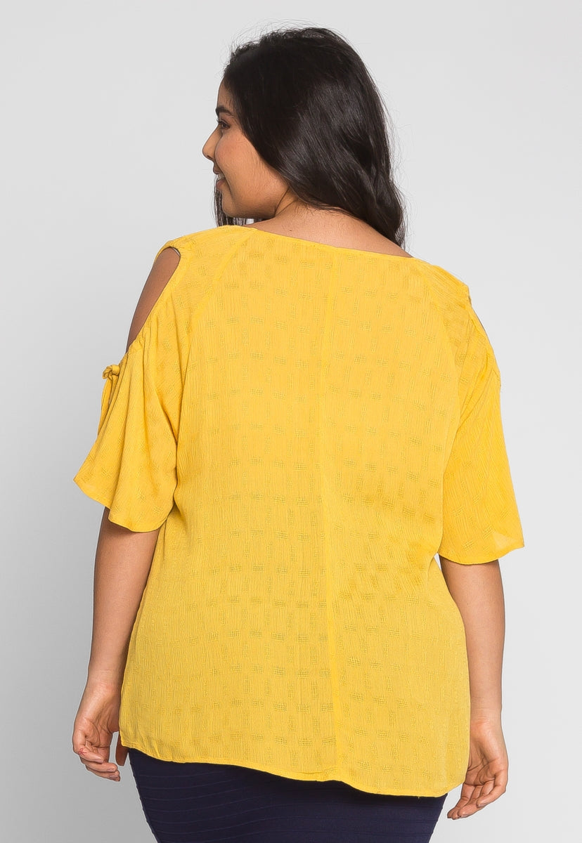 Plus Size Springs Blouse in Mustard - Plus Tops - Wetseal