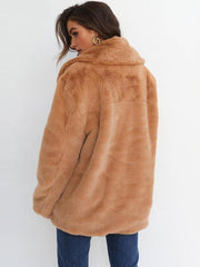 2019 new fashion short ladies warm tops imitation rabbit fur coat