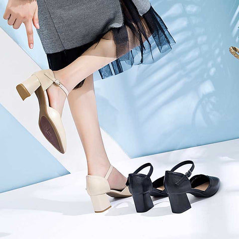 Buckle pointed high heel sandals