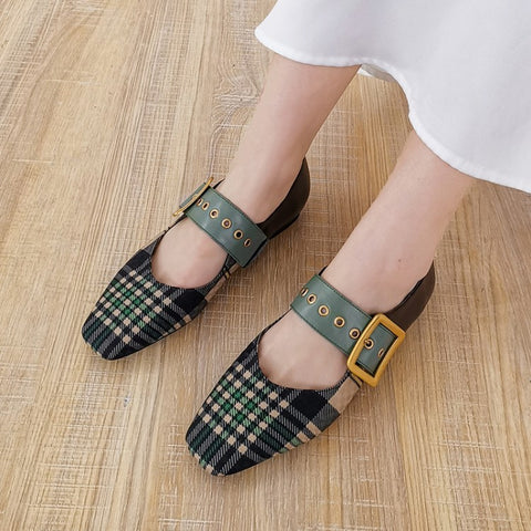 New square head plaid stitching flat bottom belt buckle leather shallow mouth shoes v-shaped women's shoes