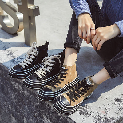2020 spring leather round toe high-top women's canvas shoes casual shoes high-top shoes