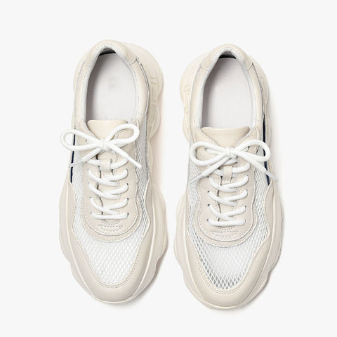 2020 spring new thick casual Korean style wild leather flat women's sneakers