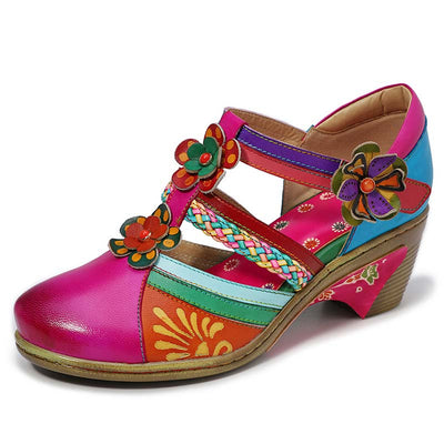 Color Block 3D Flower T-Strap Hollow Patchwork Velcro Leather Sandals