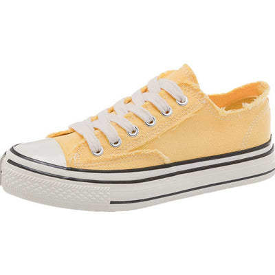 Joker-trimmed casual flat-bottomed canvas shoes