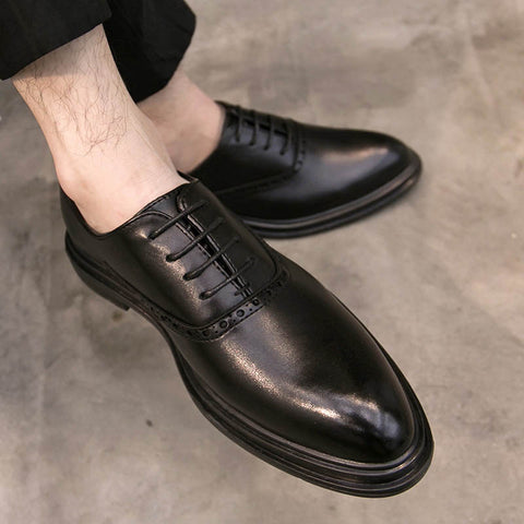 Summer new men's large size dress Brock shoes men's British breathable pointed business men's shoes