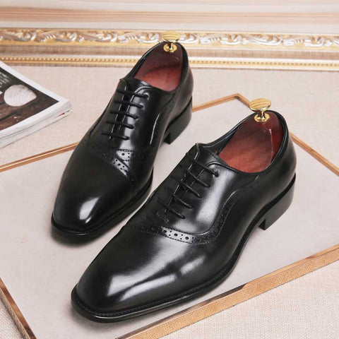 Solid color leather Brock carved business dress men's casual shoes