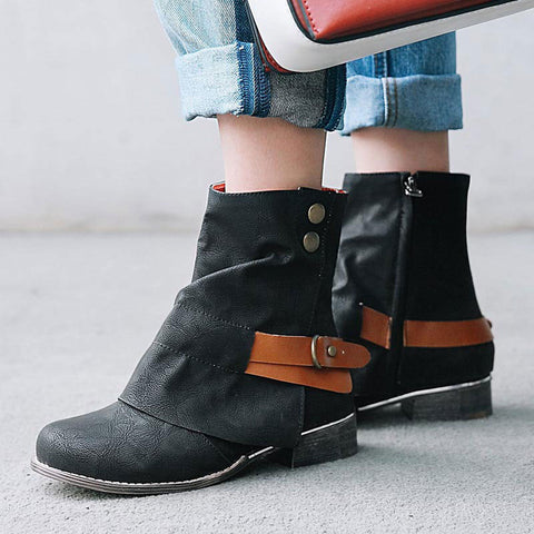 Sequins Side Zipper Asymmetric Buckle Chunky Heel Ankle Boots