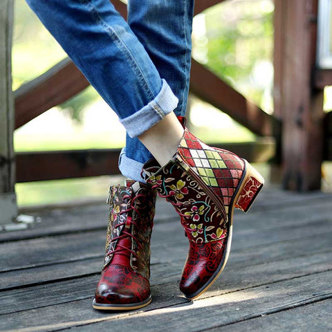 2019 new fashion handmade leather stitching pirate buckle jacquard color matching women's boots