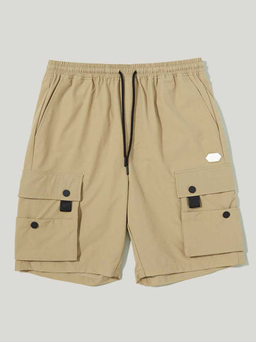 Multi-pocket elastic waist men's casual shorts